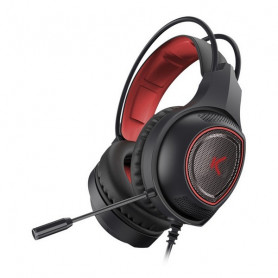 Gaming Headset with Microphone KSIX Drakkar USB LED Black Red KSIX - 1
