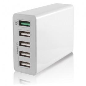 Caricabatterie USB da Parete KSIX 5 USB 10a Bianco KSIX - 1