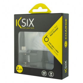 Wall Charger + USB A to USB C Cable KSIX USB Black KSIX - 1