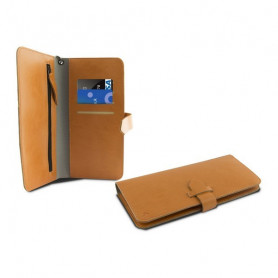"Universal Mobile Case - Book Smartphone 5,5"" KSIX Wallet Orange KSIX - 1"